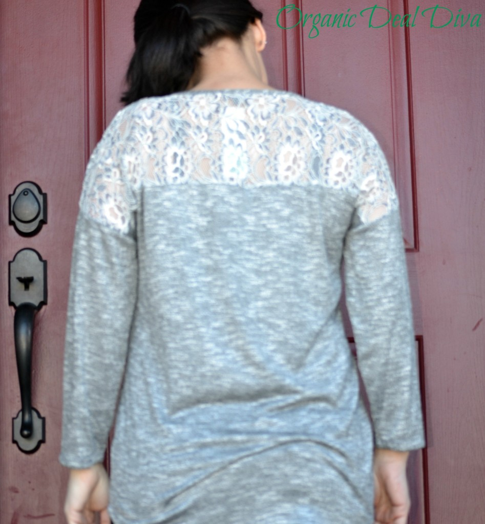 Back of Kersten Lace Shoulder Raglan
