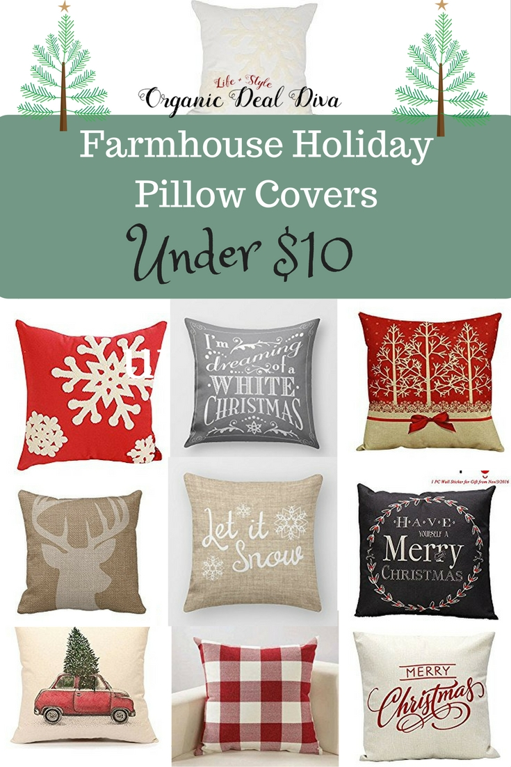 Farmhouse Holiday Pillow Covers under $16 - Jessi Living Lovely