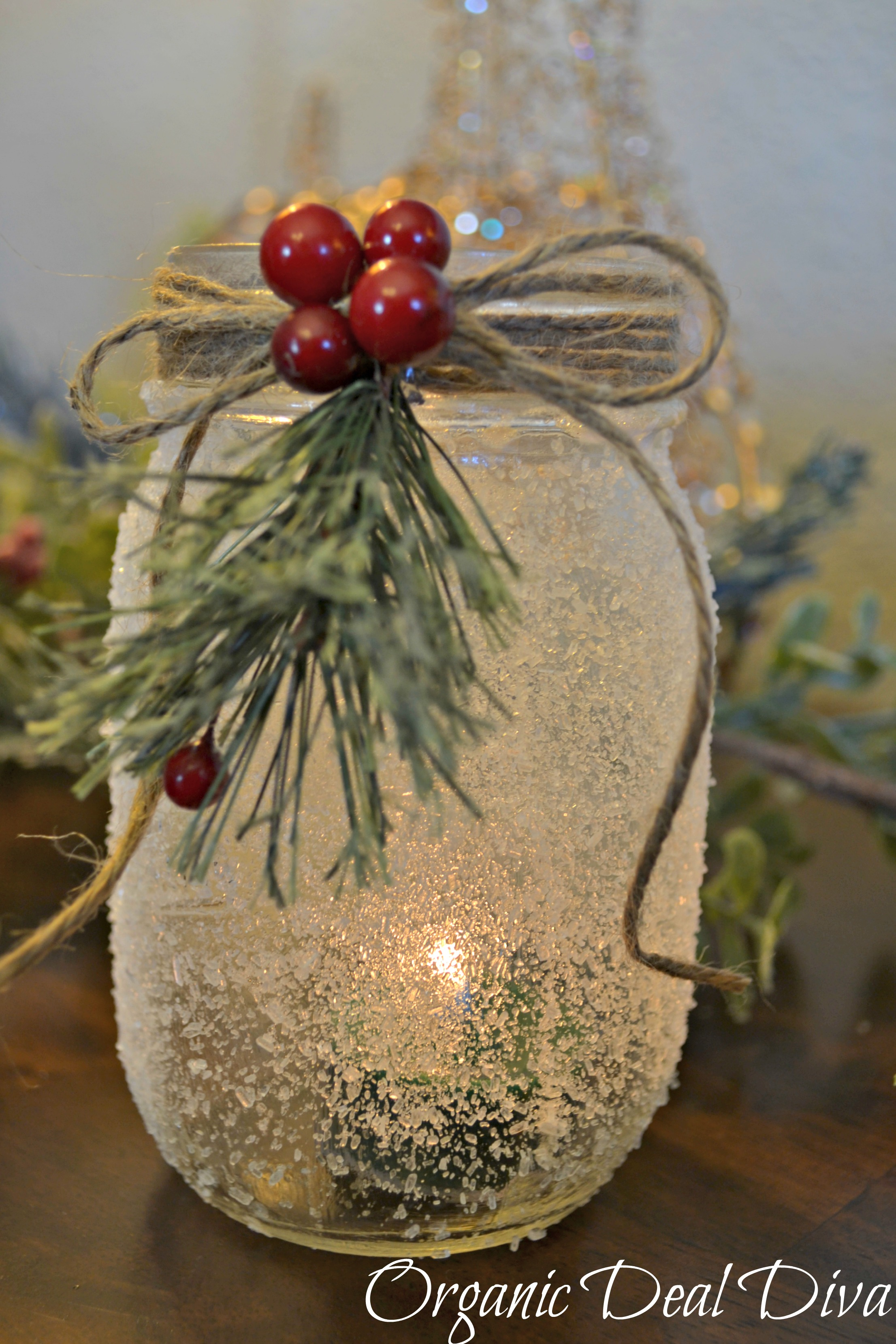 Diy snow covered mason jar candle holders for How to make christmas candle holders