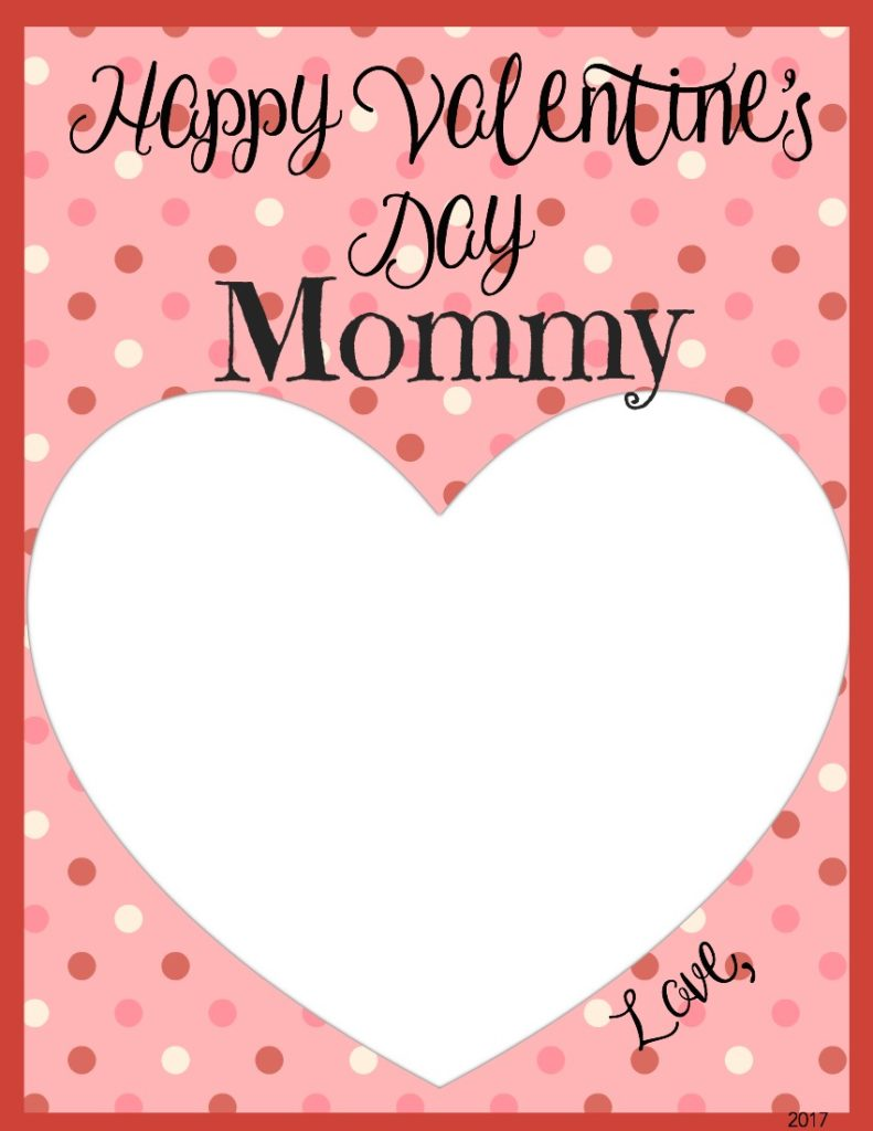 image regarding Happy Valentines Day Printable identified as Valentines Working day Memory Keepsake Printable Playing cards for Moms and dads