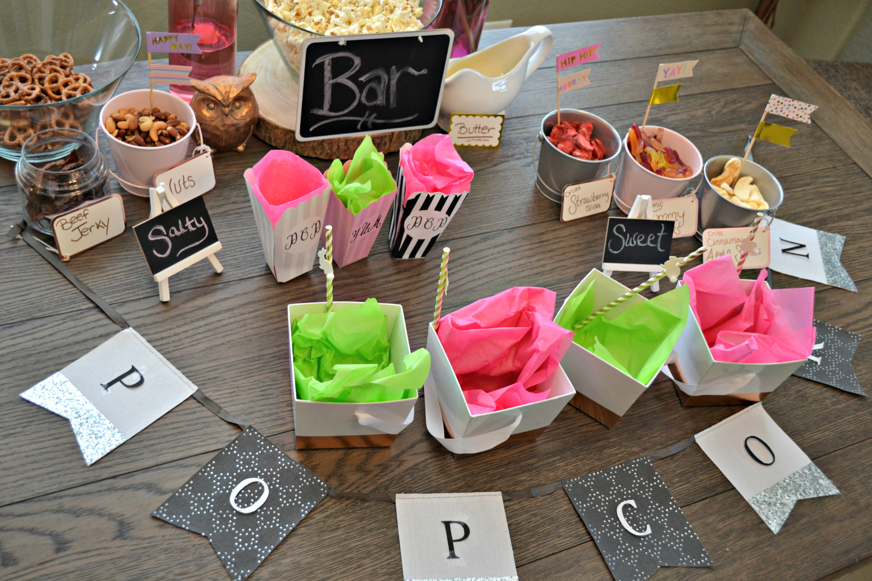 Popcorn Bar Ideas with Printable for treat bags