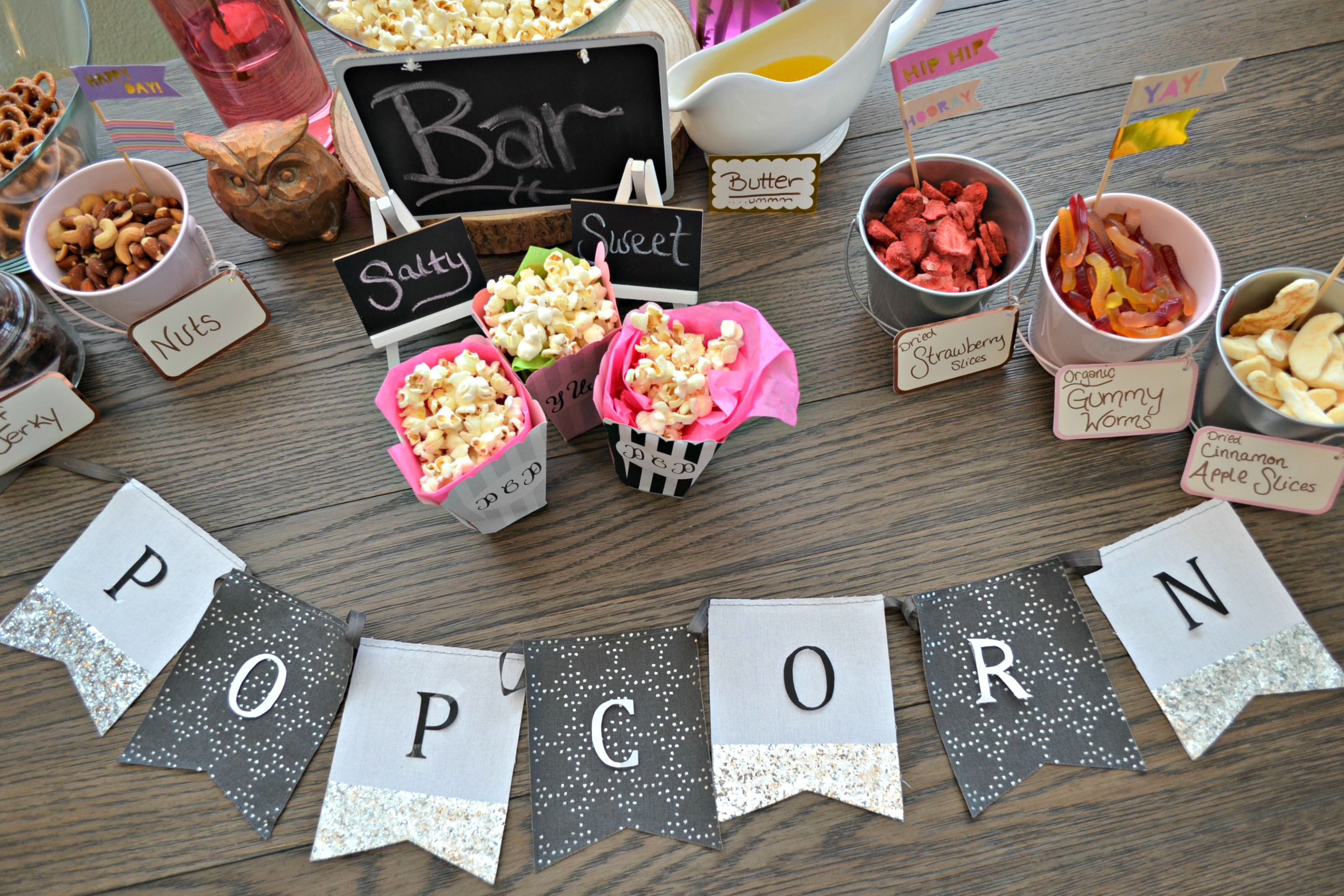 Popcorn Bar station complete with all you need for a fun night of snacking