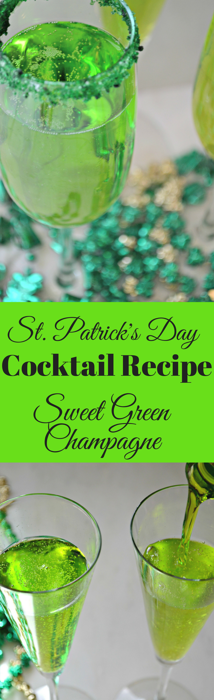 St. Patrick's Day Drinks - This Sweet Green Champagne Cocktail is perfect all month long!