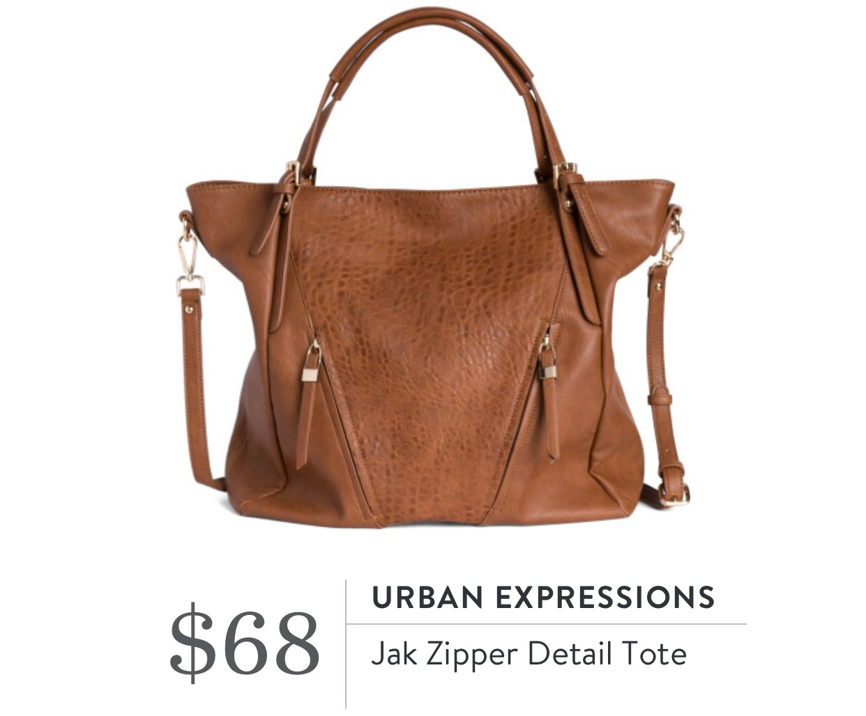 Jak Zipper Detail Tote - Urban Expressions
