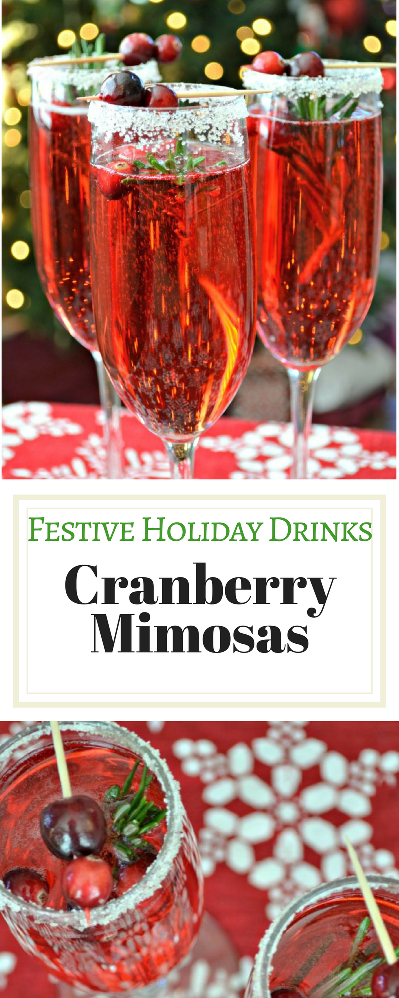 Festive Holiday Drinks - Cranberry Mimosas